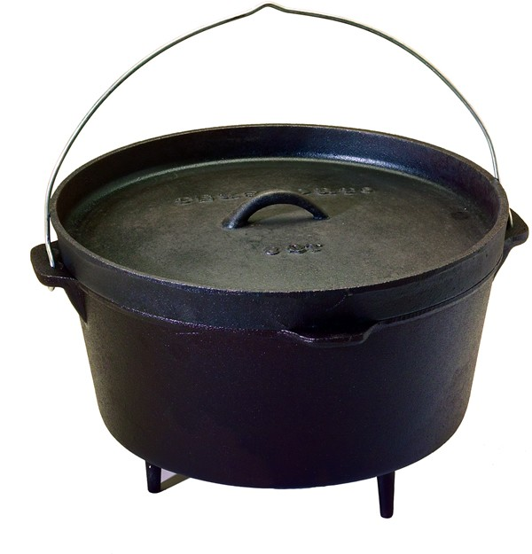 Pre-Seasoned 8 quart Cast Iron Dutch Oven with Legs