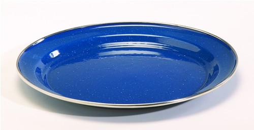 10'' Blue Enamelware Dinner Plate with Stainless Rim (Case pack of 24)