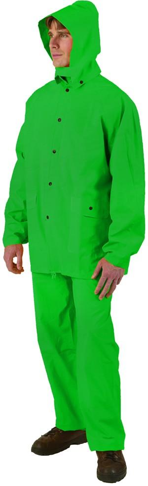 Hunter Green Three-Piece P.V.C. Rainsuit - Sizes: Med-3XL